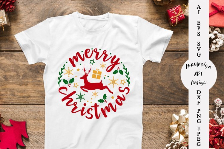 Merry christmas svg, Christmas ornament svg, Reindeer example image 1