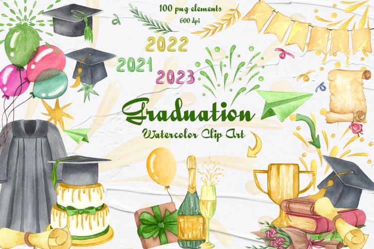 Graduation Watercolor Clipart example image 1