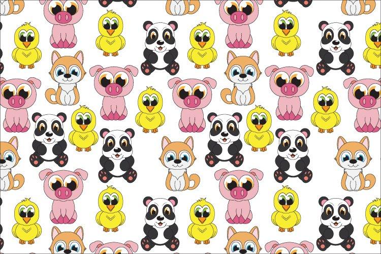 cute animal cartoon seamless pattern example image 1