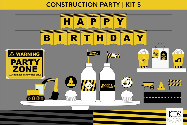 Construction birthday party printable decorations, party kit example image 1