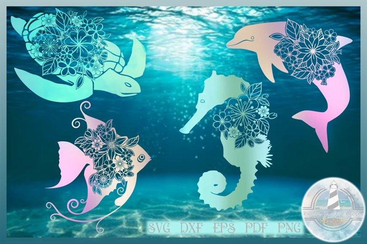 Sea Turtle Dolphin Angel Fish Seahorse Floral Mandala Bundle