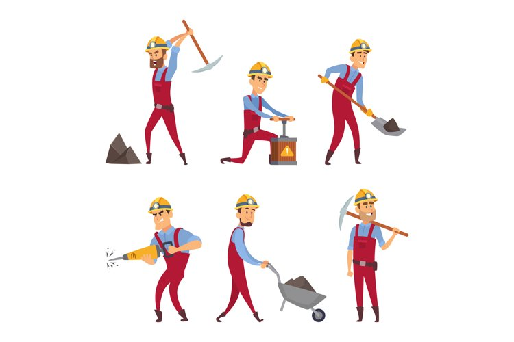 Characters set of miners. Cartoon characters example image 1
