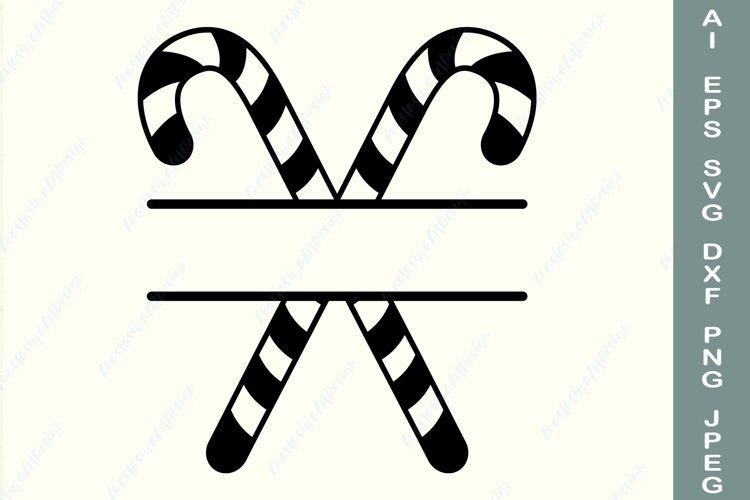 Christmas candy cane frame svg, Split monogram svg example image 1