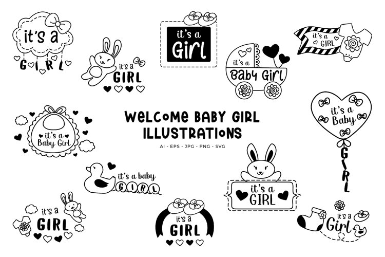 Welcome Baby Girl illustrations example image 1