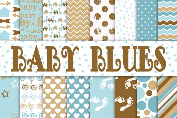 Baby Boy Digital Paper in Blues and Browns example image 1