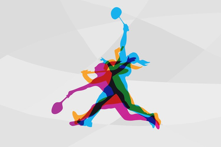 Modern Badminton Women Players In Action Logo