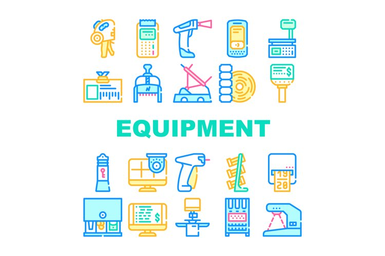 Shop Equipment Device Collection Icons Set Vector example image 1