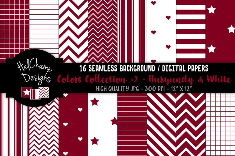 16 seamless Digital Papers - Burgundy and White- HC149 example image 1