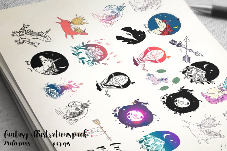 Fantasy illustrations set