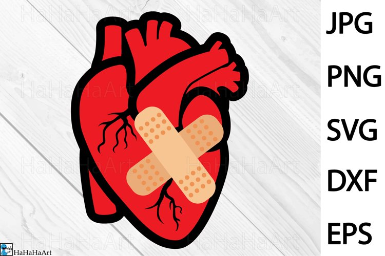 Patched Heart Design - Clip art / Cutting Files 1344c example image 1