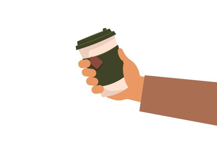 Hand holding coffee or tea mug, take away cup vector