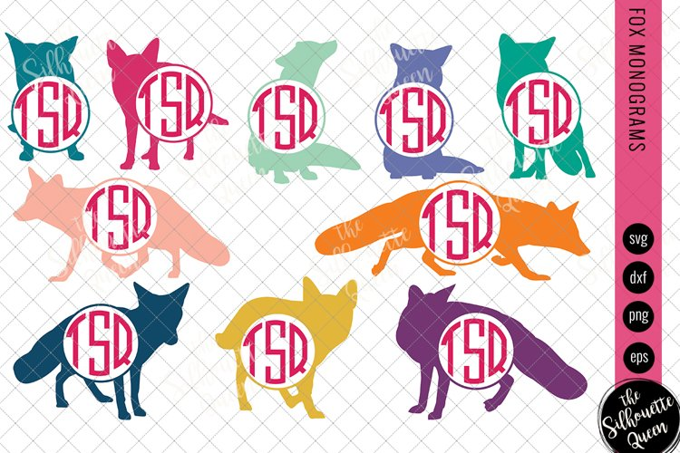 Fox Svg, Monogram Svg, Circle Frames, Cuttable Design example image 1