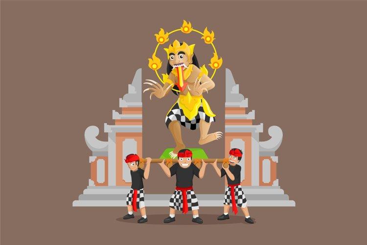 Balinese ogoh - ogoh giant parade with gate background