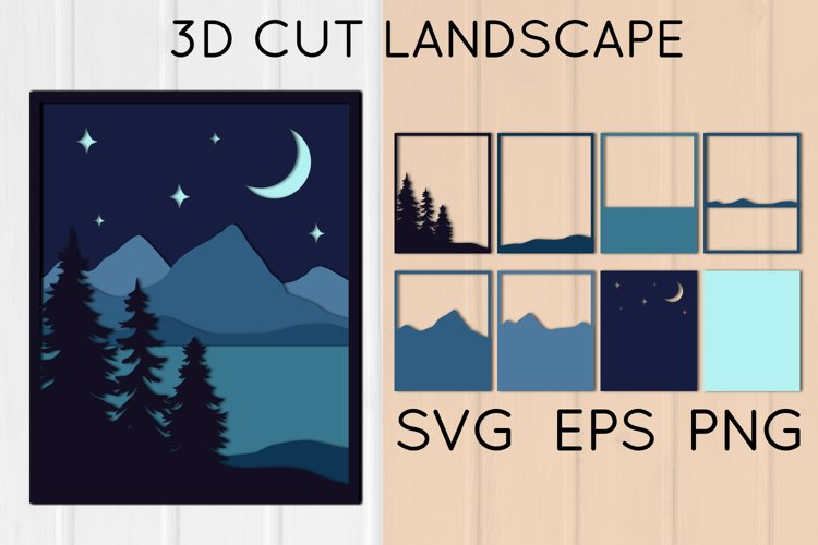 3D Night Landscape Wall Art, Layered Mountains, Paper Cut