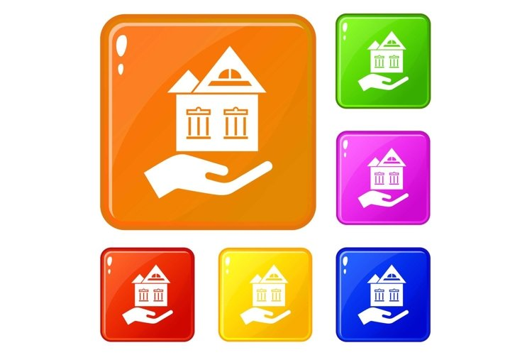 Home protection icons set vector color example image 1