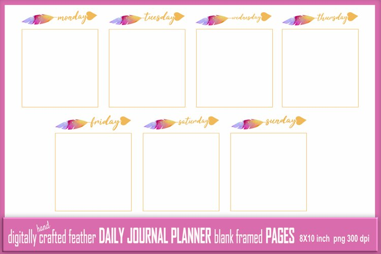 Abstract Feather Daily Journal Planner Framed Blank 7 Pages example image 1