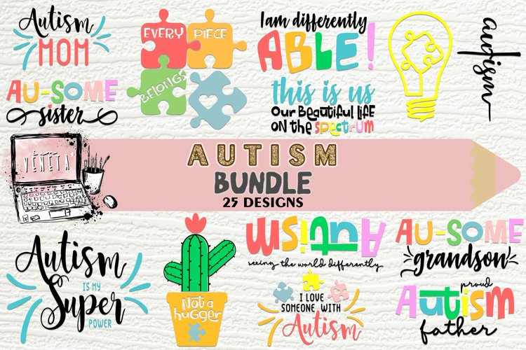 Autism  BUNDLE - 25 Designs   SVG, DXF, EPS  Cutting Files example image 1
