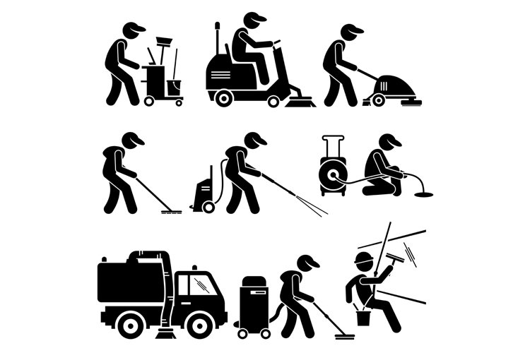 Industrial Cleaning Worker with Tools and Equipment Icons example image 1