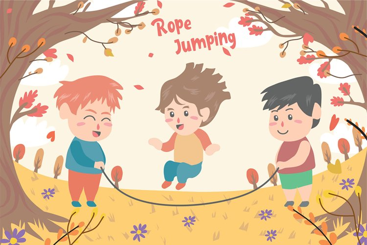 Kids Playing Jump - Vector Illustration example image 1