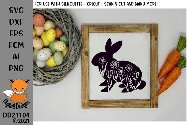 Floral Spring Easter Bunny SVG