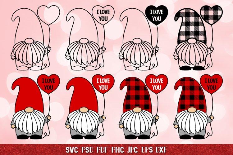 Gnome Valentine SVG,Balloon SVG,I Love You SVG,Plaid Gnomes