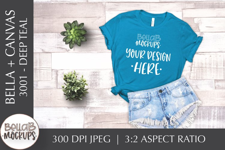 Bella Canvas 3001 Woman's T Shirt Mockup, Deep Teal, Blue example image 1