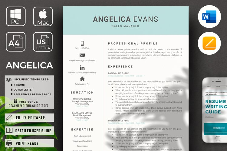 Modern Resume Template and Cover Letter. Fully editable CV example image 1