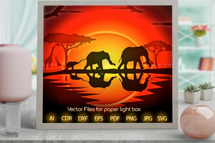 african safari Light box PNG SVG DXF CDR template Papercut example image 1
