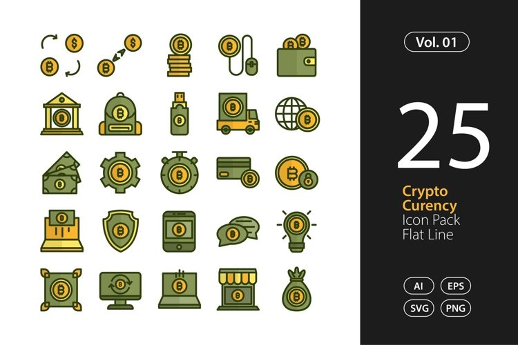 Cryptocurrency Icon Flat Line SVG, EPS, PNG