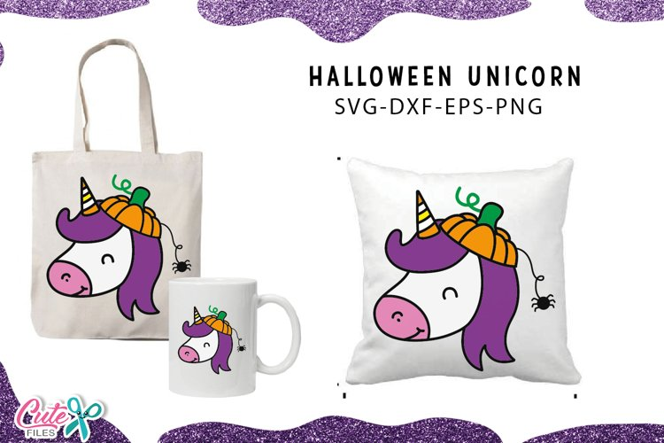 Unicorn with pumpkin hat Halloween svg cut files example image 1