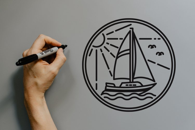 sailboat monoline logo design example image 1