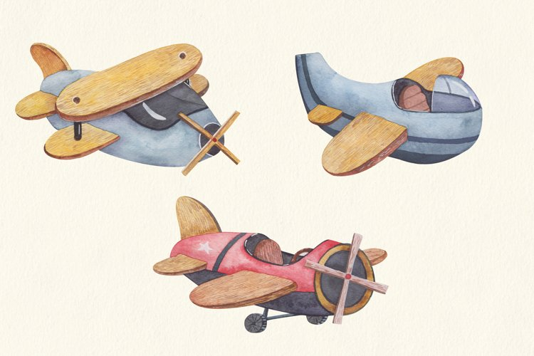 Baby transport watercolor set, airplane, submarine, train example 4