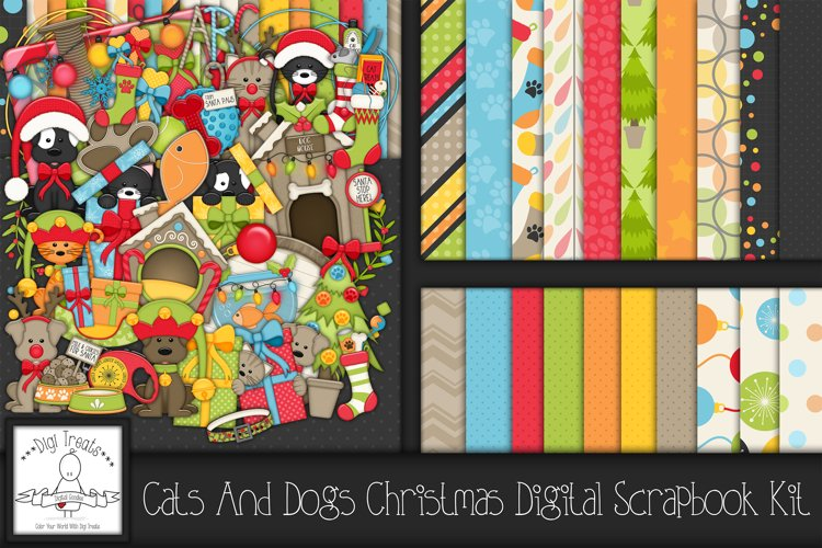Cats and Dogs Christmas Digital Scrapbook Kit. example image 1