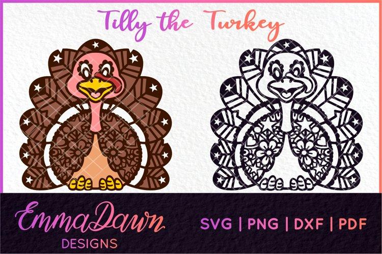 TILLY THE TURKEY SVG THANKSGIVING MANDALA ZENTANGLE DESIGNS example image 1