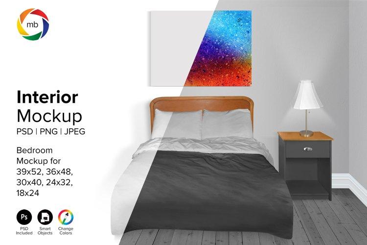Bedroom Mockup 18x24, 24x32, 30x40, 36x48 - PSD, PNG, JPG