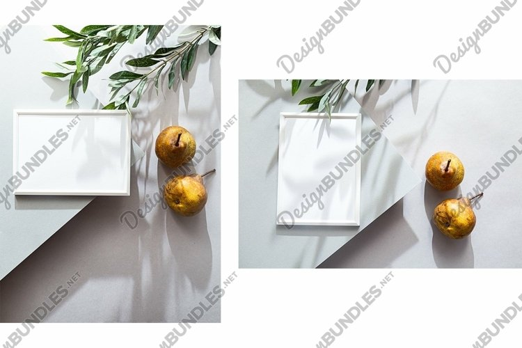 Summer mockup poster with pears and olive branch