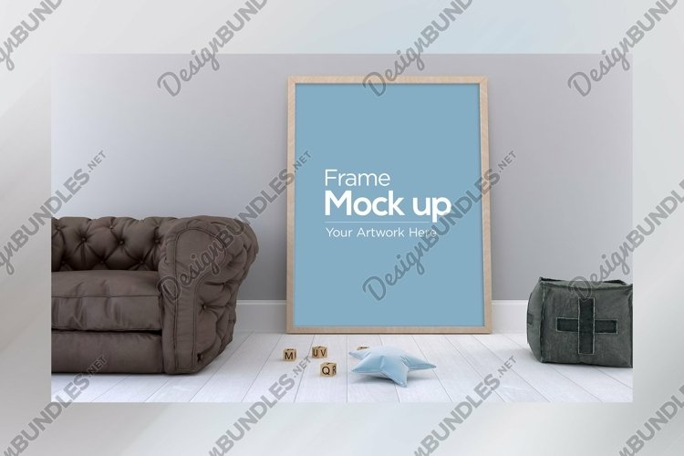 Kids Photo Frame Mockup design laying on floor with sofa example image 1