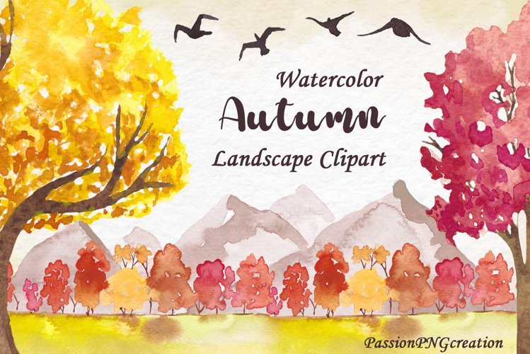 Watercolor Autumn Landscapes Clipart example image 1