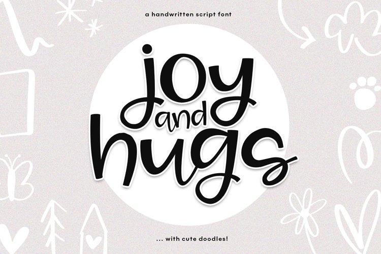 Joy   Hugs Handwritten Script Font - with doodle extras!