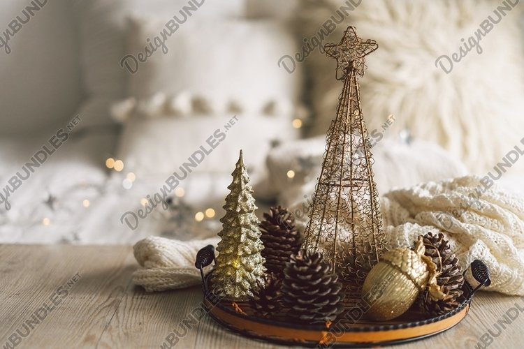 Happy New Years. Christmas background with fir tree example image 1