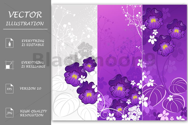 Banners with Violets example image 1