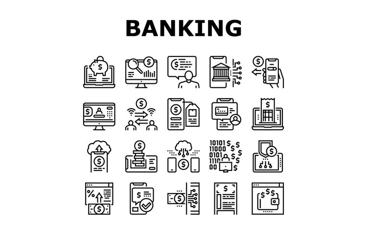 Online Banking Finance Collection Icons Set Vector example image 1