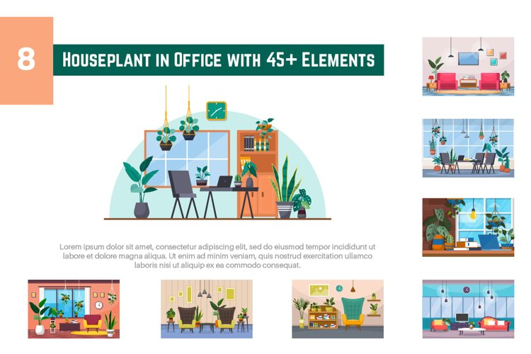 8 Houseplant in Office with 45 Elements