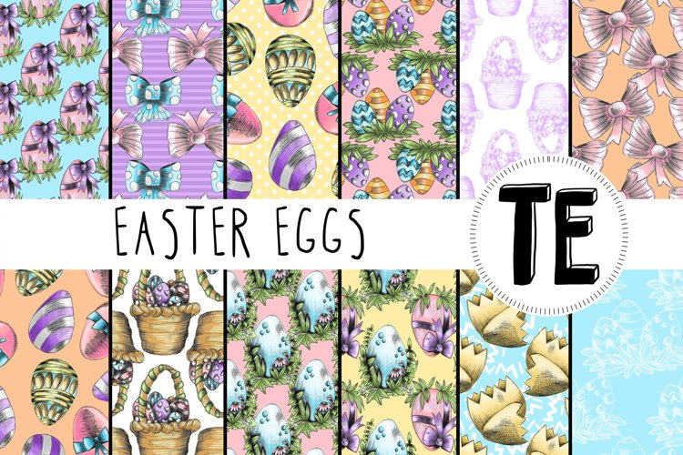 Easter Eggs Digital Paper Pack. 12 Seamless Patterns. example image 1
