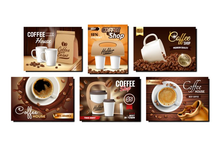 Coffee Shop Collection Promo Posters Set Vector example image 1