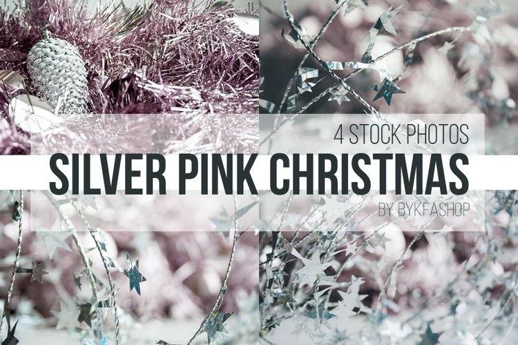 Silver, Pale Pink Christmas Backgrounds Photo Set example image 1