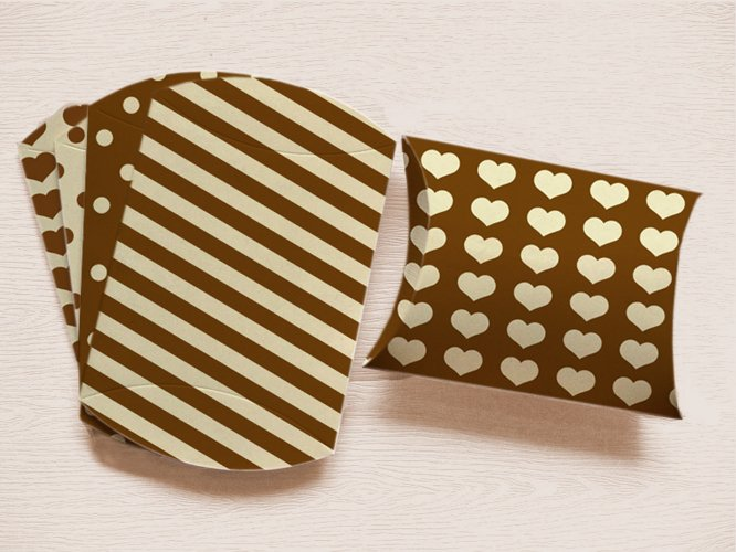 Brown Pillow Boxes to print with Stripes Polka Dots, and Hearts  example image 1