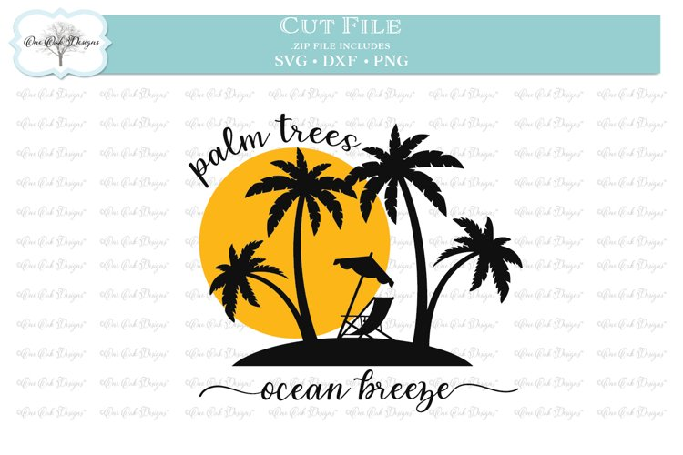 Palm Trees Ocean Breeze SVG DXF PNG example image 1