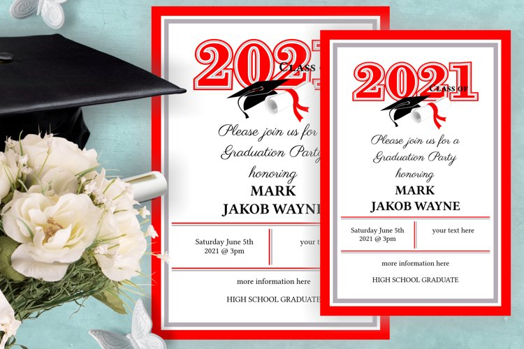 Invitation Template editable text - RED - Grade Party 2021