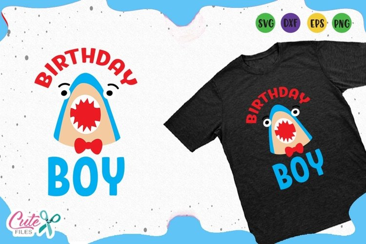 Birthday boy svg, shark face cut files for crafter example image 1